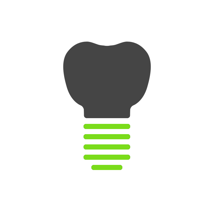 Grey tooth and green screw implant icon
